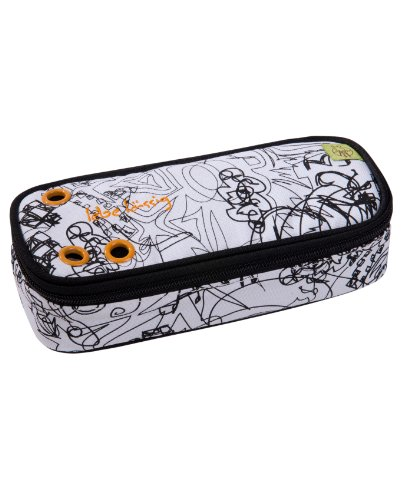 l ssig federm ppchen pencil case doodle white black bei. Black Bedroom Furniture Sets. Home Design Ideas