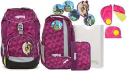 Ergobag Pack NachtschwärmBär Schulrucksack-Set 6tlg + Sicherheitsset Pink - 1