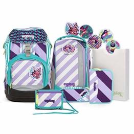 ERGOBAG Pack Set Stripes Schulranzen-Set, 35 cm, 20 L, Mutige Mädchen lila Streifen - 1