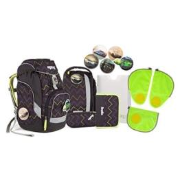 Ergobag pack - Schulrucksack Set 6 tlg. Drunter und DrüBär inkl. Sicherheitssets in GRÜN - 1